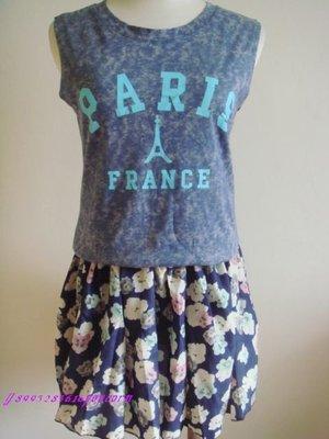 兩件式藍色無袖渲染鐵塔背心 鬆緊碎花甜美可愛短裙褲裙套裝
