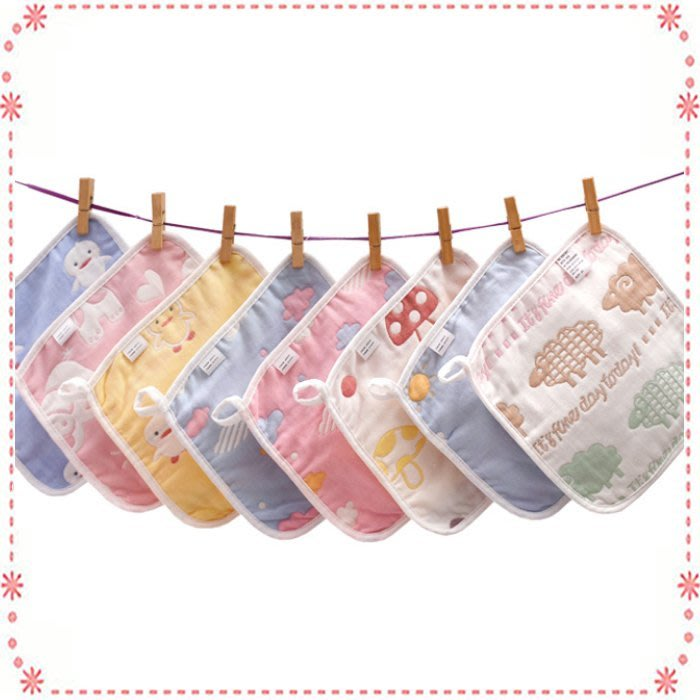 ☆貝克比比屋☆六層紗布純棉小手帕 /洗臉巾/餵奶巾/幼兒園小方巾 25*25cm