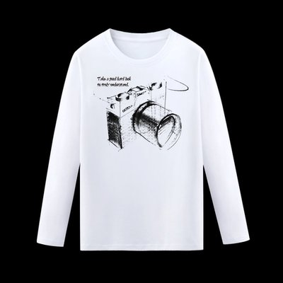 東京TOKIS扁筆速寫風相機WA23現貨臺灣插畫家男女裝情侶童裝團服班服批發長Tee造型黑白印花旅遊