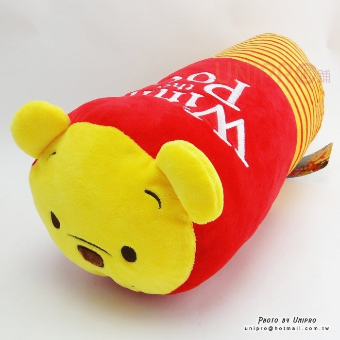 【UNIPRO】迪士尼 小熊維尼 Winnie 蜜蜂 條紋 圓柱枕 圓筒抱枕 靠枕 圓枕 午安枕 長枕