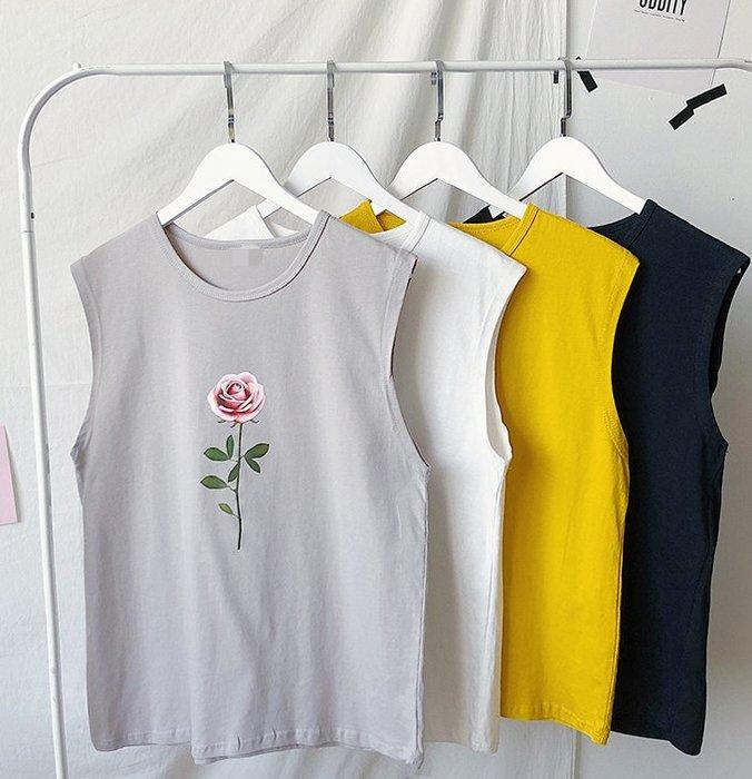 FINDSENSE H1 2018 夏季 新款 男 個性 花朵印花 情侶 無袖 舒適 寬鬆 運動背心 馬甲 潮上衣