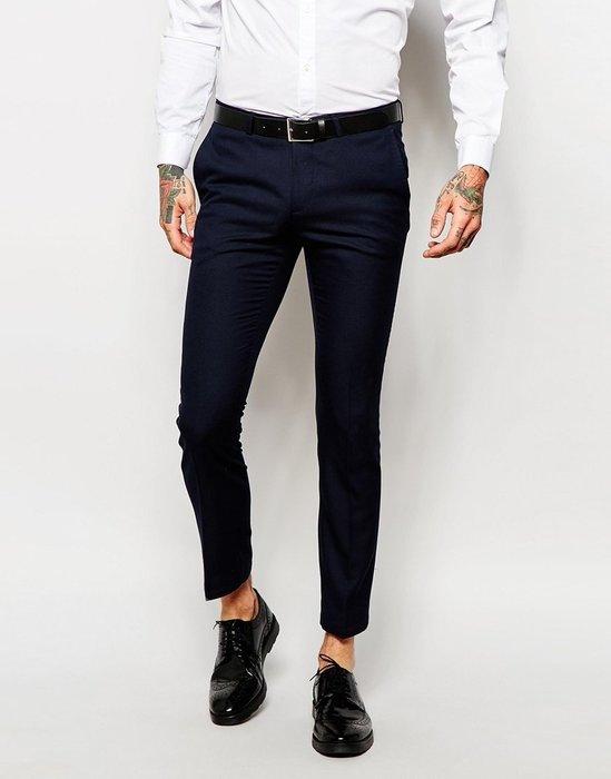 ◎美國代買◎ASOS代買超顯廋合身口袋有蓋款海軍藍英倫紳士雅痞風窄版九分長西裝長褲~歐美街風~大尺碼