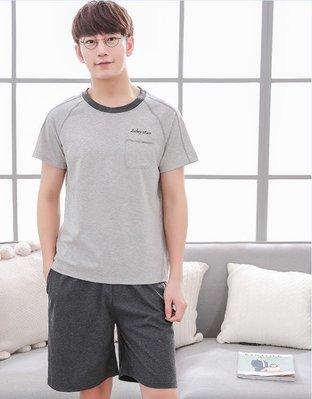 每週新品 男睡衣純棉短袖春夏加大碼家居服男士圓領套頭100%全棉套裝