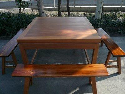 A002 {崙頂傳統原木家具行}~櫸木固定腳實木桌配杉木板凳【接受訂作訂色】