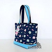 【YOGSBEAR】台灣製造 M手提袋 保溫袋 保冷袋  手提包 餐袋 便當袋  拉鍊包 水餃包 D55 藍
