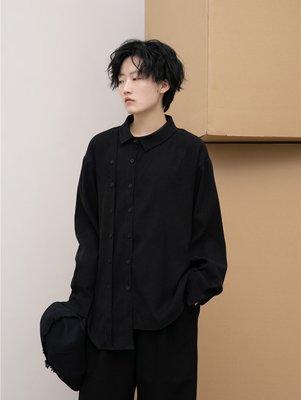 Dark.Q ON 設計感不規則襯衫黑色上衣