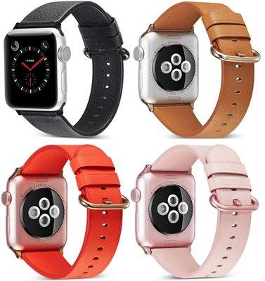 蘋果手表表帶apple watch彩扣真皮表帶iwatch4手表帶扣式腕帶男女手錶配件 錶帶 鋼帶 帆布 皮質