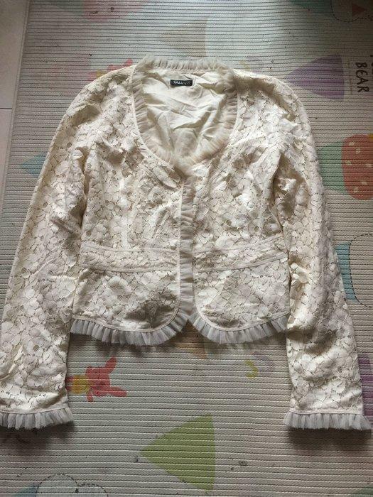 tahari 米白色蕾絲小外套 6號