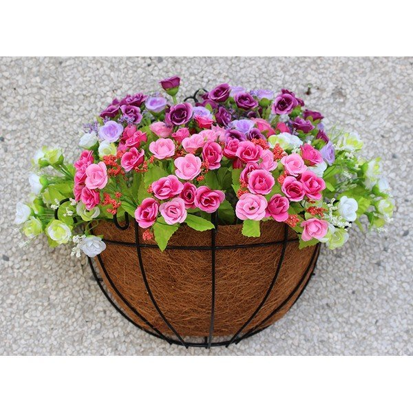 椰棕墊半壁掛式花盆 植物盆栽花垂吊 半掛壁鐵藝花盆牆壁鐵藝花盆