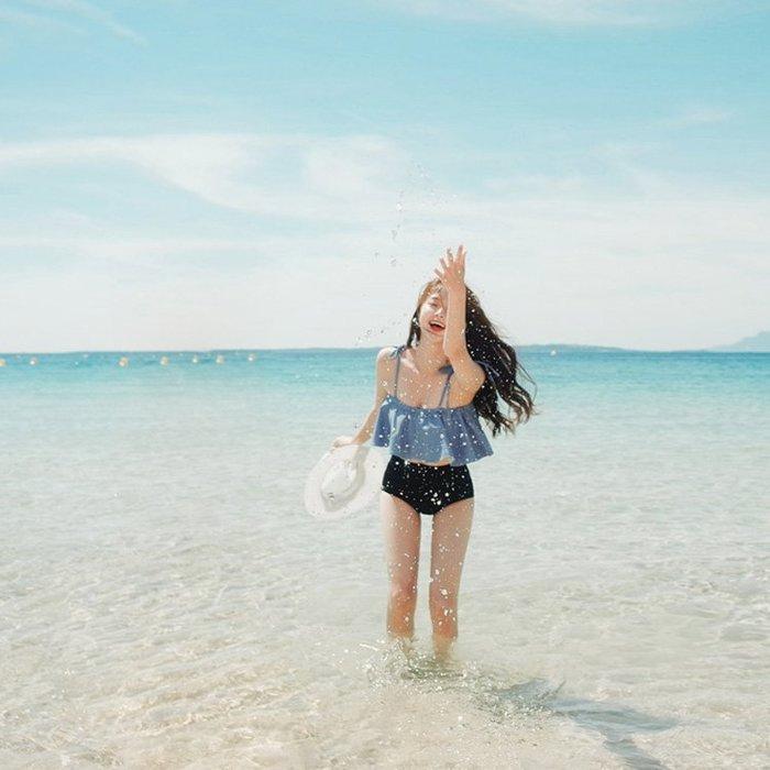 泳衣-韓版分體荷葉邊保守小胸聚攏泳衣女抹胸高腰顯瘦比基尼溫泉游泳裝