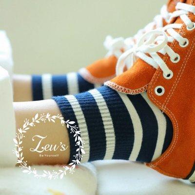 【ZEU'S】韓國學院風條紋中筒襪『 02119425 』【現+預】B