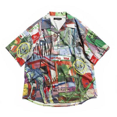 美國東村【Slightly Numb】SAPPY ALOHA SHIRT 滿版 印花 手繪 短袖 襯衫