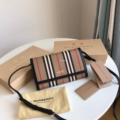 Alina 精品代購Burberry 巴寶莉 英倫都會時尚 專屬條紋小斜背包 outlet代購