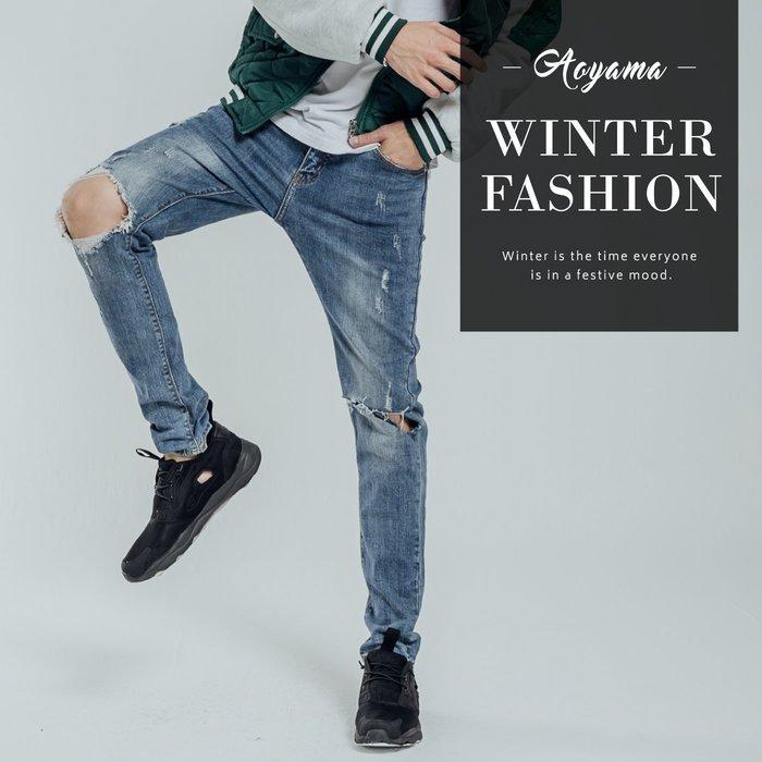 牛仔褲 十字切口破壞設計彈力牛仔褲【EJ1072】青山AOYAMA