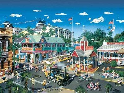 美國進口拼圖 sun 風景 美國佛羅里達 基韋斯特島 小城鎮.1000片拼圖,56208