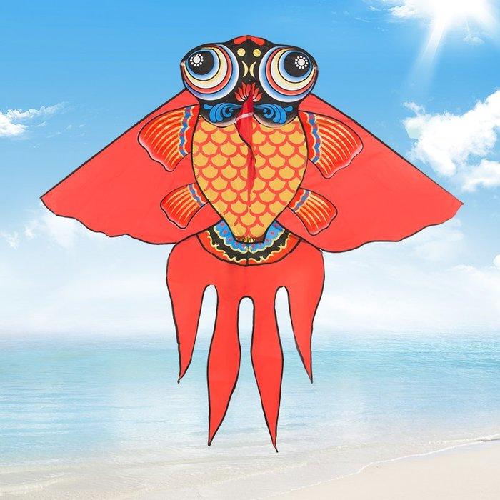 奇奇店-金魚濰坊風箏帶線小卡通線輪套裝初學者大型成人兒童新款微風易飛#美觀設計 #到手即飛 #微風好飛