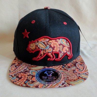 美國時尚品牌 Top Level 平沿帽 潮帽 棒球帽, 變形蟲圖案, 黑色