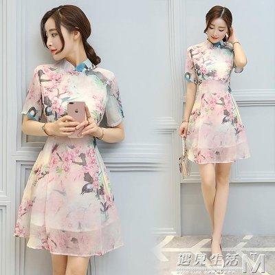夏季新款女裝復古印花中國風改良旗袍裙收...