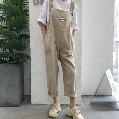 自制 趣味童真寬松 寬松工裝背帶褲休閑褲