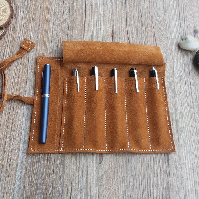 [包妳喜歡]牛皮復古卷筆袋多支裝真皮鋼筆收納袋韓版文具盒保護套收藏包筆簾009