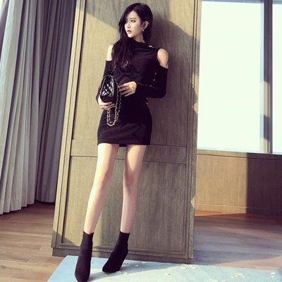 性感女裝 洋裝 連身裙 短袖套裝 無袖套裝 女褲 女上衣2018夏季韓版新款性感露肩側邊單排金屬扣性感修身包臀露肩連衣裙