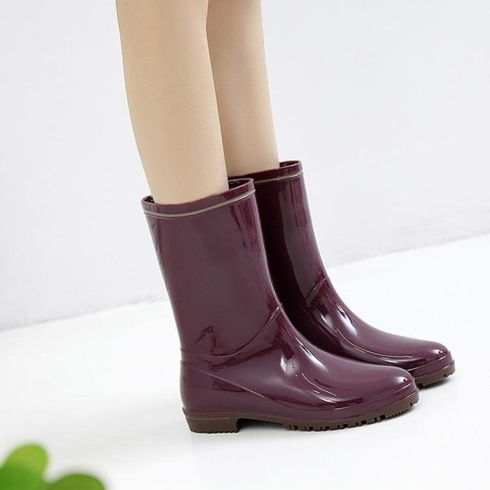 YEAHSHOP 雨鞋女中筒雨靴時尚水靴膠鞋防滑水鞋套鞋Y185