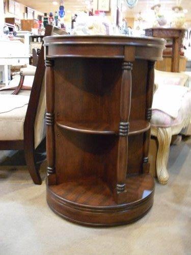 美生活館-- 古典家具風格--曼森圓型旋轉開放書櫃/邊桌/茶几/置物架/電話櫃