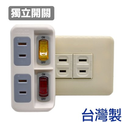 「CP好物」安全電源分接式插座 (獨立開關/2孔) 2開2座雙切插座開關1轉2插座延長線-台灣製造