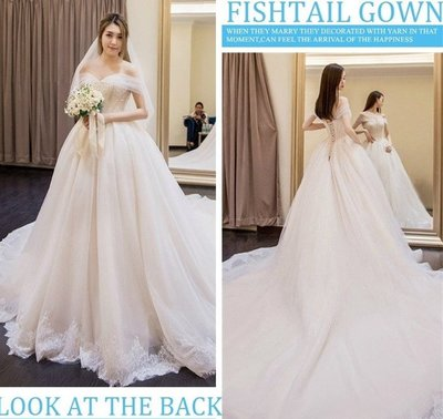 *全新~台中sasa婚紗禮服~華麗大拖尾設計婚紗 白紗~