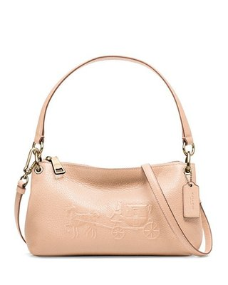 Coco小舖 COACH 33521 EMBOSSED HORSE AND CARRIAGE CHARLEY 杏色