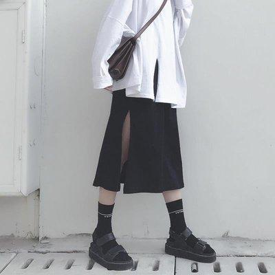 2018春秋季新款復古港風百搭黑色開叉高腰半身裙顯瘦百搭中長裙