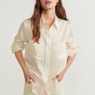 Club Monaco Silk beige pockets shirt chiffon blouse top cos lv名牌真絲優雅淡米金色雙袋恤衫 襯衫