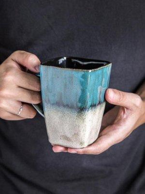 復古個性方形茶杯陶瓷杯子大容量馬克杯帶勺咖啡杯家用創意情侶杯
