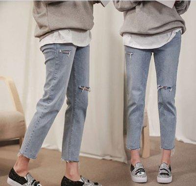 牛仔褲 (YCH5039) 夏季推薦款:超好穿薄款破洞寬鬆牛仔九分褲 哈倫褲 25-31
