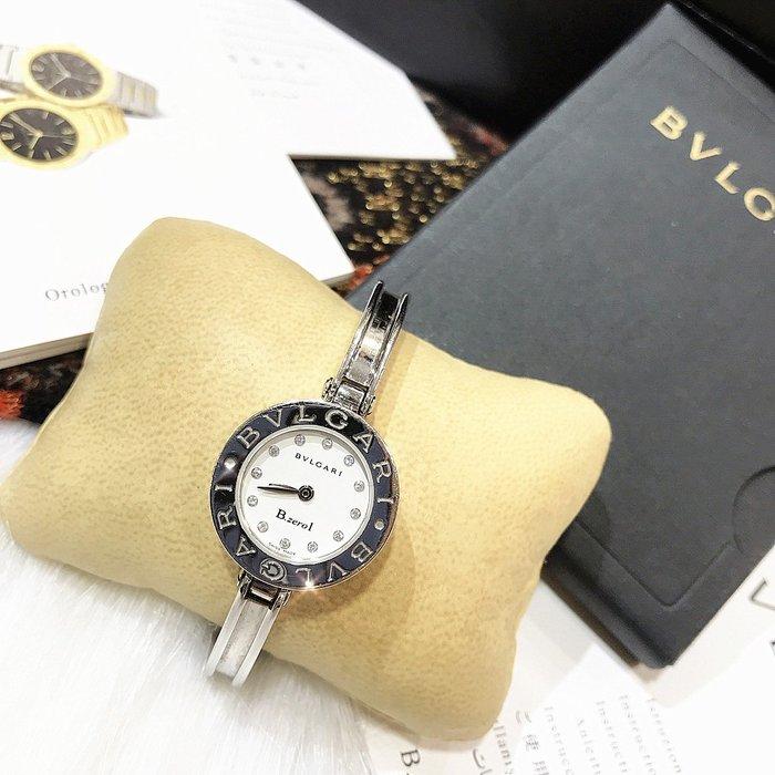 二手旗艦 BVLGARI 寶格麗 B.zerol 白色 鏡面12點鑽 銀色 鑽錶 腕錶 S號 (中友店) 15510