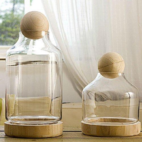 飾品 透明瓶 擺件擺設透明玻璃罩飾品托斯卡納圓木塞玻璃罩
