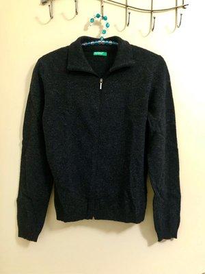 名牌正品現貨【 Benetton 純羊毛修身拉鍊外套上衣 S 黑色 】布料柔細,Made in Italy,修身顯瘦。
