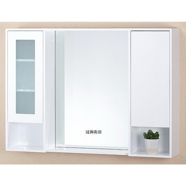100%PVC發泡板雙門收納開放櫃 鏡櫃 100cm