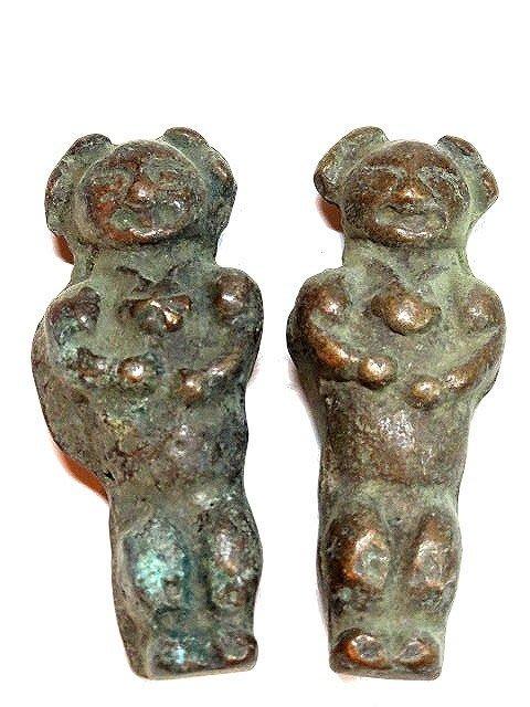 【 金王記拍寶網 】T280  出土 老銅雕  童子銅雕擺件 小品青銅器實心 2件  罕見稀少