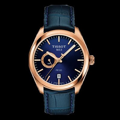 Tissot 天梭PR100系列皮帶雙時間石英男腕錶 T1014523604100