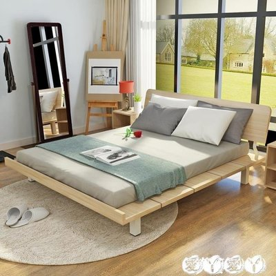 簡約床 簡約現代板式床日式榻榻米床1.2米現代床1.8M單人床1.5米床架雙人 新品LX