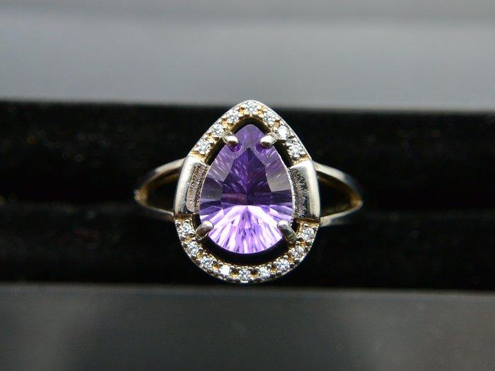 #超值 500圓專區 # 天然紫水晶 千璽切割水滴型 簡約款設計戒指 戒子 #11