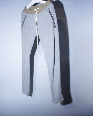 Fear of god fog essentials drawstring pants 灰 棉 拉鍊 開衩 長褲