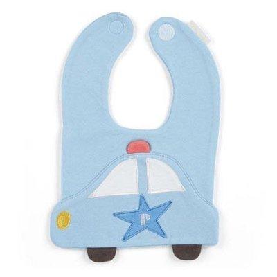 RB工程車 大臉造型嬰兒魔鬼氈棉質圍兜《藍白》口水圍兜.口水巾