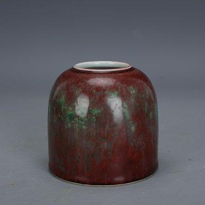 ㊣姥姥的寶藏㊣ 大清康熙手工瓷豇豆紅窯變釉水盂水罐手工官窯  古瓷古玩古董收藏