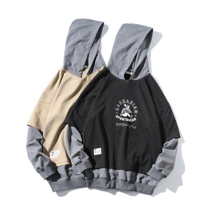FINDSENSE 2019 春季 新款 日本 街頭 嘻哈 大碼  撞色 印花  時尚 寬鬆 個性連帽 衛衣 潮男
