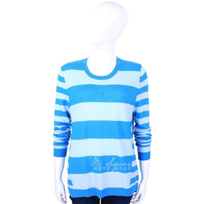 米蘭廣場 ALLUDE 40%CASHMERE 圓領條紋長袖針織上衣(水藍X藍) 1440544-23