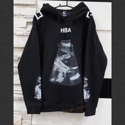 HBA HOOD BY AIR 2015F/W 連帽長袖Tee 帽衫 帽T 胎動 心電圖 二手正品 近全新 黑色 現貨L