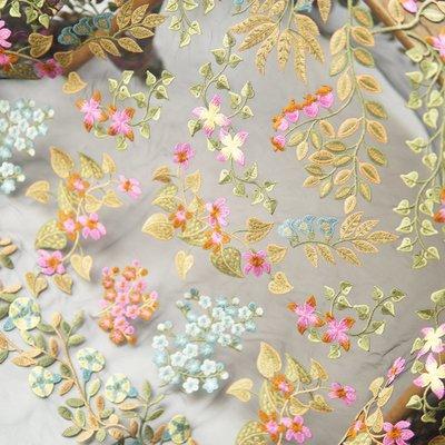 橙子的店 W229蔓藤繡花多彩精致小碎花刺繡軟網紗蕾絲布料服裝手工DIY面料