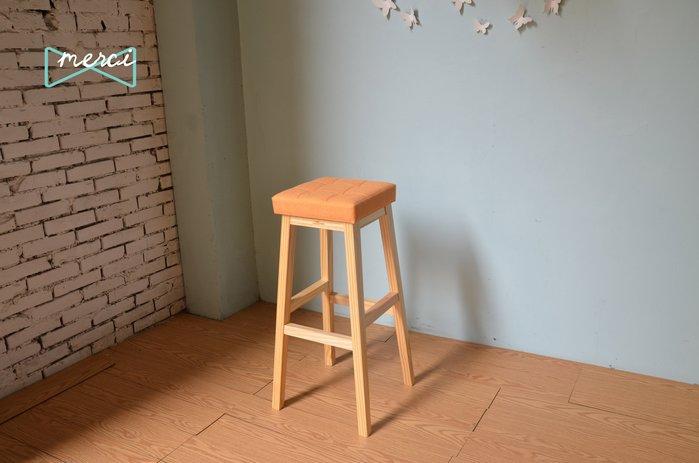 美希工坊JAN-PON吐司吧台椅/中島椅/吧台椅/ 亞麻淺橘/沙發坐感/原木椅架